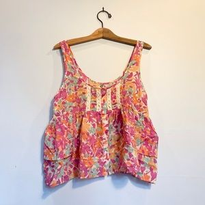Free People Laced Floral Summertime Tank Top